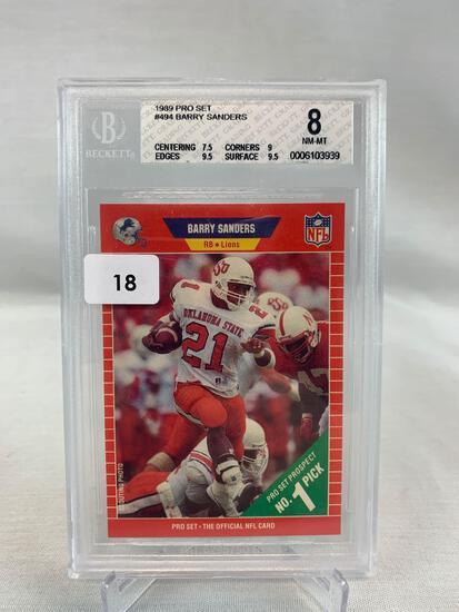 Barry Sanders 1989 rookie Beckett graded 8
