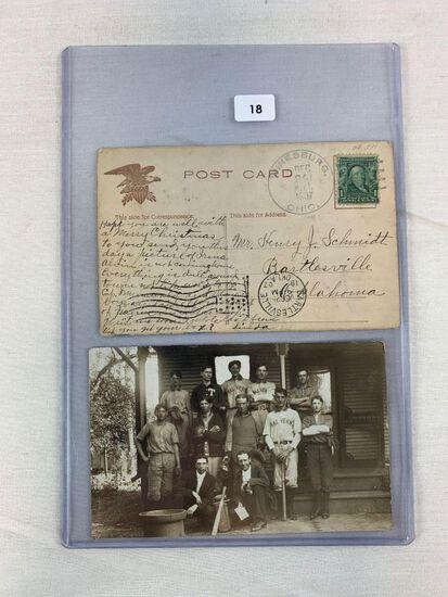 Early 1900's Baseball Postcard Pair - Embossed & RPPC