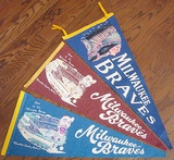 Lot Of 3 Different 1950s Milwaukee Braves Full Size Pennants