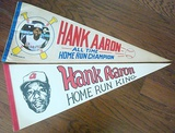 Two Different 1970's Hank Aaron Home Run King Pennants