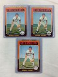 1975 Topps #223 Robin Yount RC - Lot of 3