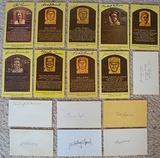 Lot Of 16 Signed HOF Plaque Postcards & Index Cards All HOFers
