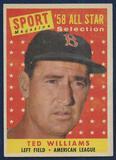 1958-Topps-485-Ted-Williams-All-Star-Baseball-Card-Nice