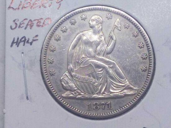 1871 SEATED HALF AU