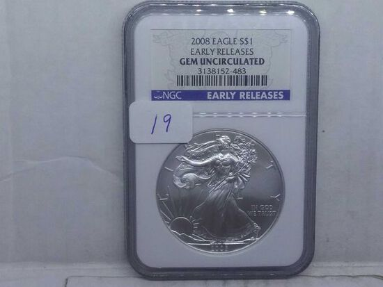 2008 SILVER EAGLE NGC GEM UNCIRCULATED