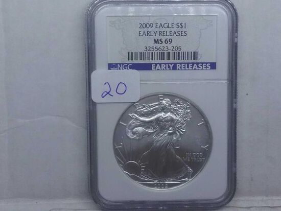 2009 SILVER EAGLE NGC MS69 EARLY RELEASES