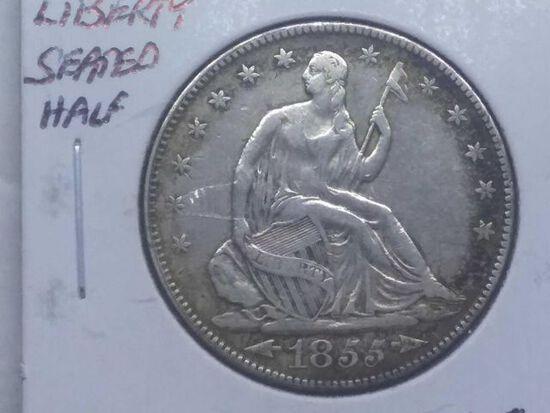1855 W/ARROWS SEATED HALF VF