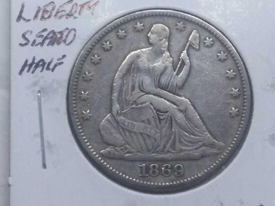 1869S SEATED HALF VF