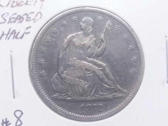 1872S SEATED HALF AU