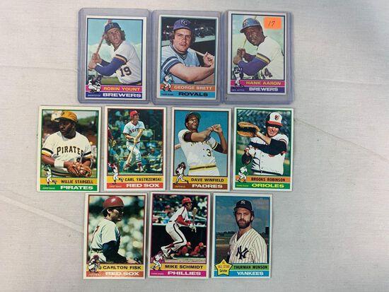 1976 Topps baseball star lot : Aaron, Brett, Yount, Munson, plus 6