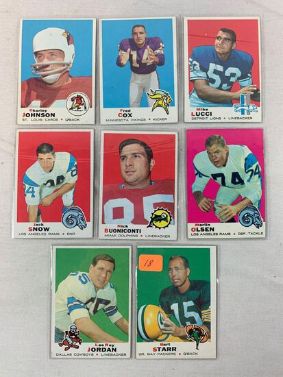 1969 Topps football lot w/ Bart Star plus 7 cards