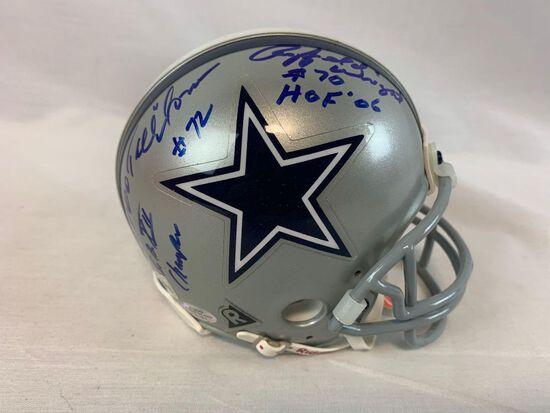Dallas Cowboys mini helmet w/ Ed Too Tall Jones, Raphael Wright, hologram cert