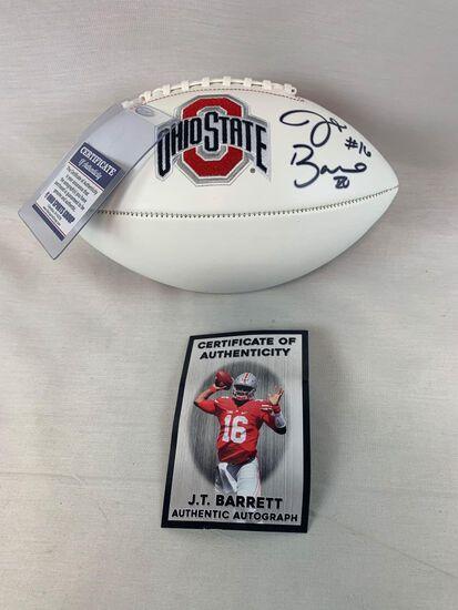 JT Barrett signed Ohio State white football, JT hologram