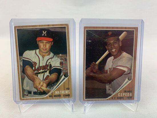 1962 Orlando Cepeda & Ed Mathews Topps Baseball cards