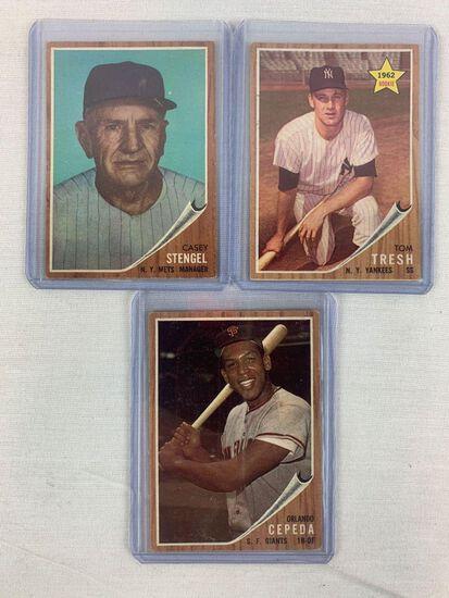 1962 Tom Tresh Rookie, Casey Stengel, Orlando Cepeda Topps Baseball cards