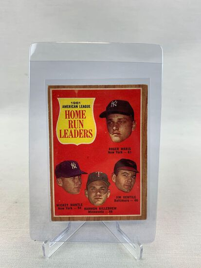 1962 Mickey Mantle, Roger Maris, Home Run Leaders Topps Baseball card