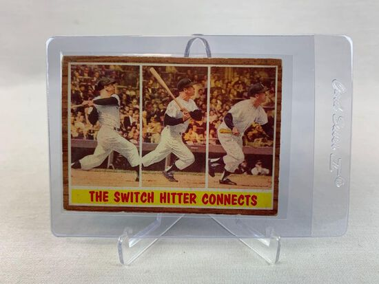 1962 Mickey Mantle The switch hitter Connects Topps baseball card