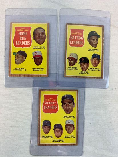 1962 (3) Leaders Topps Baseball Cards Clemente, Mays, Koufax, Robinson