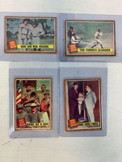 1962 (4) Babe Ruth Topps Baseball Cards Babe Ruth Special
