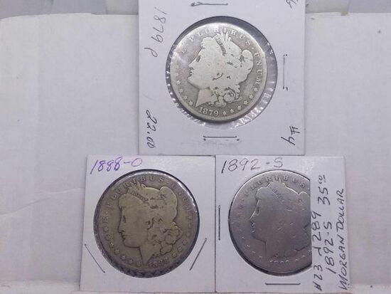 1879,88O,92S, MORGAN DOLLARS (3-COINS)