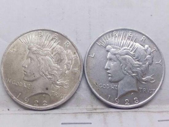 1922,23, PEACE DOLLARS (2-COINS)