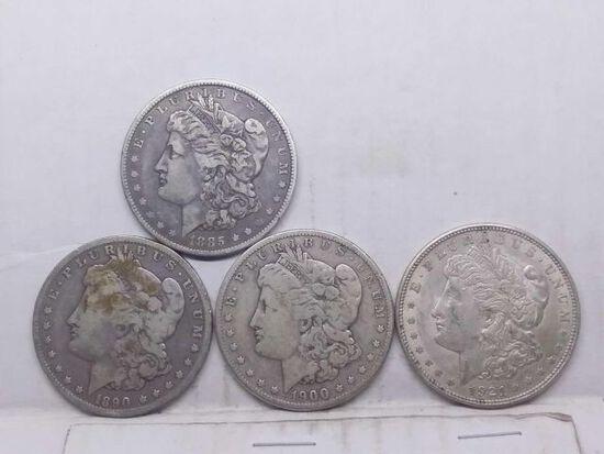 1885O,90O,1900O,21, MORGAN DOLLARS (4-COINS)