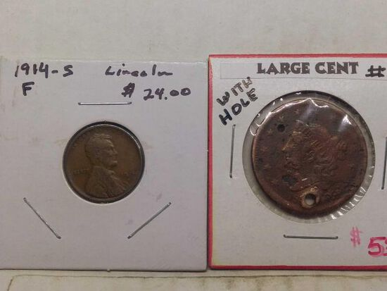 1914S LINCOLN CENT F & LARGE CENT (HOLED)