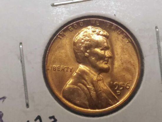 1956D LINCOLN CENT BU RED