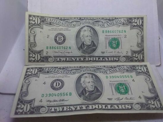 1990,1993, $20. FEDERAL RESERVE NOTES