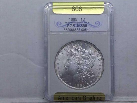 1885 MORGAN DOLLAR IN SGS MS66 HOLDER