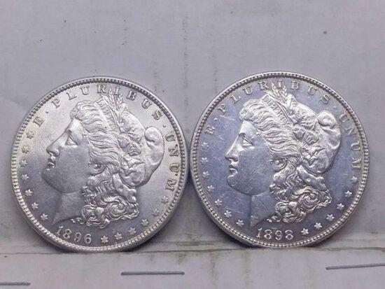 1896,1898, MORGAN DOLLARS (2-COINS)