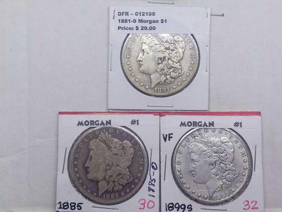 1881S,85O,99S, MORGAN DOLLARS (3-COINS)
