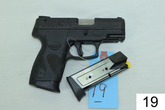 Taurus    Mod PT III Millennium    G-2    Cal 9mm    SN: TKU-26699    Condition: 95% W/Box