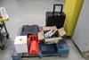 Pallet Of Tools. Wheel Chalks, Twine, Bosch Drill, Makita Saw, Socket Set, Toolbox, More