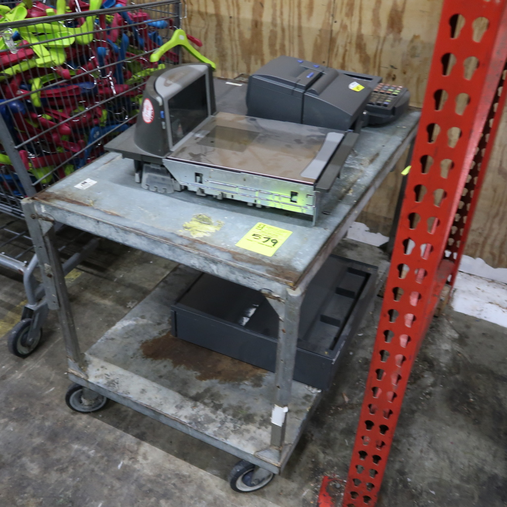 stocking cart w/ POS equipment