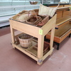 wooden produce merchandiser w/ angled top