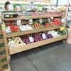 three-tiered dry produce merchandising racks