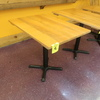 wooden topped cafe table