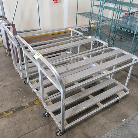 aluminum carts, some missing center tops