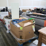 crate of misc: hoses, stainless pans, non-stick griddle,