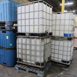 plastic containers in steel cages