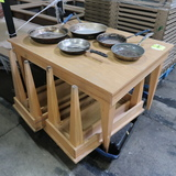 pallet of wooden tables, w/ frying pans