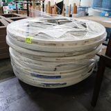 circular plastic-topped folding tables, 60