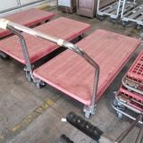 low flat cart, steel frame w/ plastic top