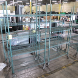 wire shelving units, on casters