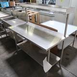stainless table w/ undershelf & overshelf