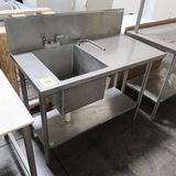 stainless table w/ backsplash & single compartment sink