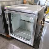 True stainless undercounter fridge, on casters w/ broken glass door