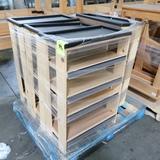pallet of wooden shelves w/ plastic tops