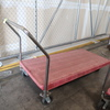 low flat cart, steel frame w/ plastic top